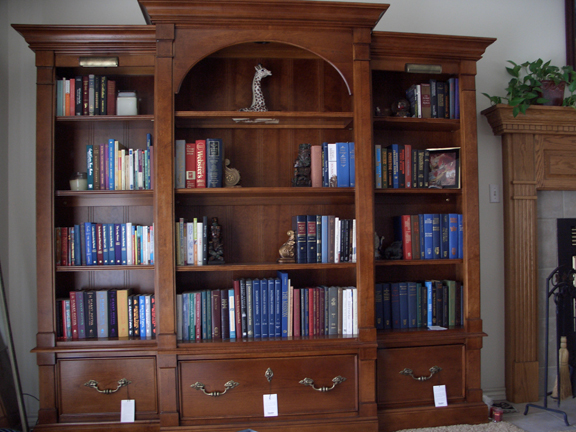 Here's the bookshelves with our books displayed:
